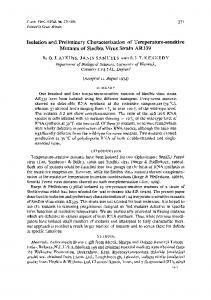 Isolation and Preliminary Characterization of Temperature ... - CiteSeerX