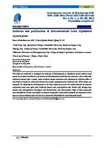 Isolation and purification of allelochemicals from ...