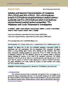 Isolation and Spectral Characterization of Complexes [FeL1ClH2O ...