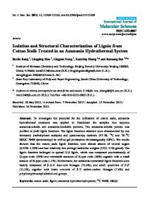 Isolation and Structural Characterization of Lignin ... - BioMedSearch