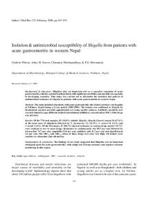 Isolation & antimicrobial susceptibility of Shigella from ... - MedIND