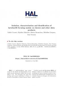 Isolation, characterisation and identification of