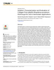 Isolation, Characterization and Evaluation of Collagen from Jellyfish ...