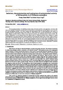 Isolation, characterization and evaluation of ... - Semantic Scholar