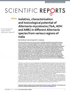 Isolation, characterization and toxicological potential ... - CyberLeninka