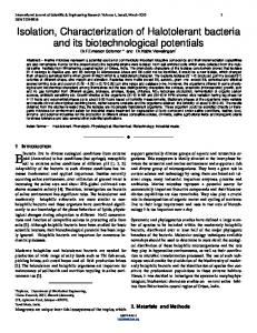 Isolation, Characterization of Halotolerant bacteria and its ... - IJSER.org