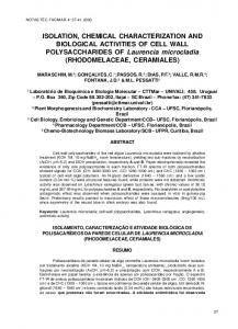 ISOLATION, CHEMICAL CHARACTERIZATION AND ... - Univali