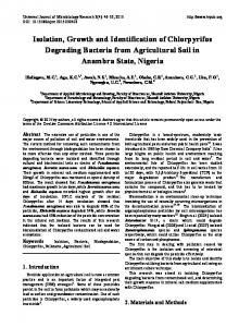 Isolation, Growth and Identification of Chlorpyrifos Degrading Bacteria ...