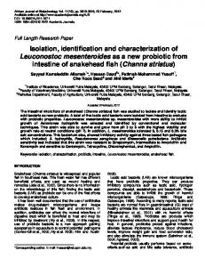 Isolation, identification and characterization of ...