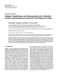 Isolation, Identification, and Characterization of a Cellulolytic Bacillus