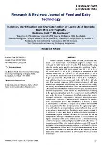 Isolation, Identification and Characterization of Lactic Acid Bacteria ...