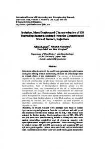 Isolation, Identification and Characterization of Oil Degrading Bacteria