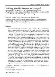 Isolation, identifications and antimicrobial susceptibility pattern of ...