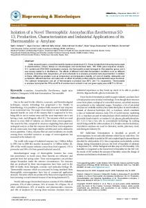 Isolation of a Novel Thermophilic Anoxybacillus flavithermus SO-13 ...