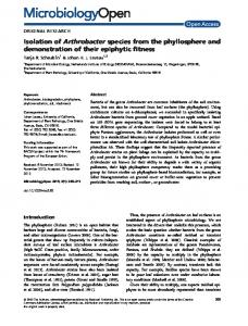 Isolation of Arthrobacter species from the ... - Wiley Online Library