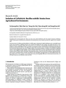 Isolation of Cellulolytic Bacillus subtilis Strains from Agricultural ...