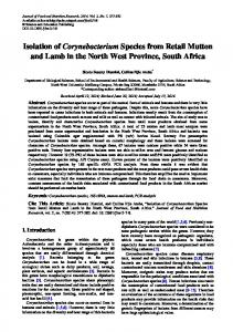 Isolation of Corynebacterium Species from Retail Mutton and Lamb in ...