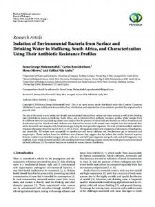 Isolation of Environmental Bacteria from Surface and Drinking Water in ...