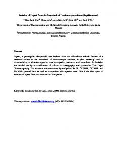 Isolation of Lupeol from the Stem-bark of ...
