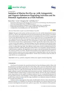 Isolation of Marine Bacillus sp. with Antagonistic and Organic