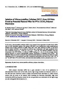 Isolation of Microcrystalline Cellulose (MCC) from Oil Palm Frond as ...