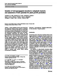 Isolation of micropropagated strawberry endophytic bacteria ... - Alice