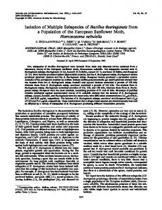 Isolation of Multiple Subspecies of Bacillus thuringiensis from a ...
