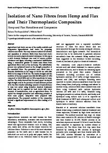 Isolation of Nano Fibres from Hemp and Flax and Their