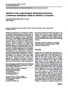Isolation of the exoelectrogenic denitrifying bacterium Comamonas ...