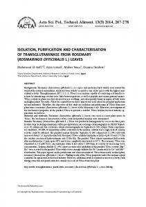 ISOLATION, PURIFICATION AND CHARACTERISATION OF ...