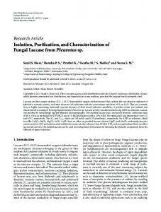 Isolation, Purification, and Characterization of Fungal Laccase from ...