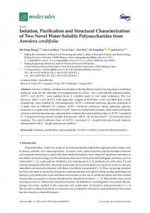 Isolation, Purification and Structural Characterization of Two ... - MDPI