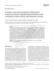 Isolation, structural elucidation of flavonoid constituents from ...
