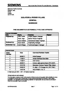 ISOLATOR AND FEEDER PILLAR GENERAL HANDBOOK - Siemens