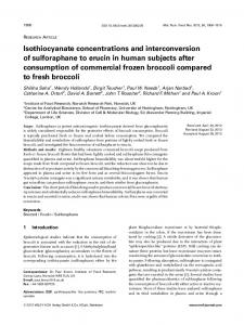 Isothiocyanate concentrations and ... - Wiley Online Library