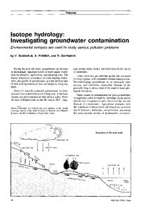 Isotope hydrology: Investigating groundwater contamination