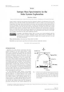 Isotope Mass Spectrometry in the Solar System