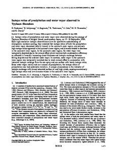 Isotope ratios of precipitation and water vapor ... - Wiley Online Library