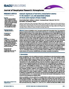 Isotopic signature of extreme precipitation ... - Wiley Online Library