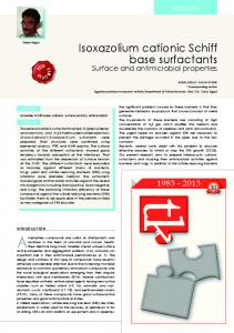 Isoxazolium cationic Schiff base surfactants