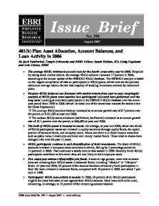 Issue Brief - Employee Benefit Research Institute