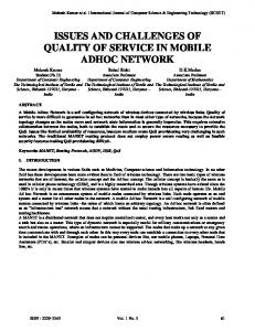 issues and challenges of quality of service in mobile adhoc network