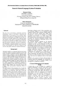 Issues in natural language systems evaluation - Machine Translation ...