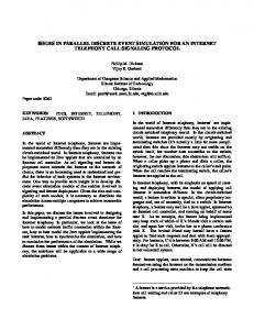 issues in parallel discrete event simulation for an ... - Semantic Scholar