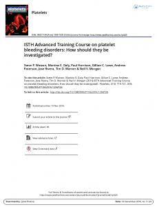 ISTH Advanced Training Course on platelet bleeding ...