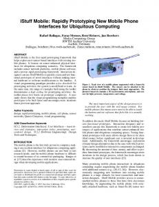 iStuff Mobile: Rapidly Prototyping New Mobile Phone Interfaces for