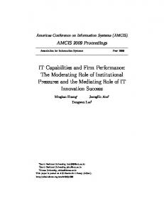 IT Capabilities and Firm Performance: The