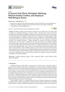 It Doesn't End There: Workplace Bullying, Work-to-Family ... - MDPI