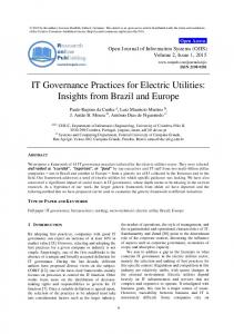 IT Governance Practices for Electric Utilities: Insights from ... - RonPub
