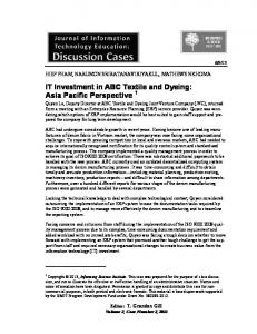 IT Investment in ABC Textile and Dyeing: Asia Pacific Perspective